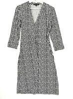 Perri Cutten Women's Size Small Black White 3/4 Sleeve Faux Wrap Stretch Dress