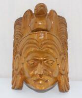 ANTIQUE VINTAGE LATIN AZTEC MAYAN WOOD WOODEN HAND CARVED WALL FOLK ART MASK