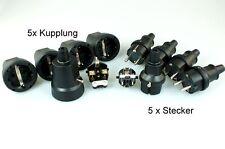 5 Paar Schukokupplung Schukostecker IP44 230V 16 A Spritzwasser geschützt Gummi
