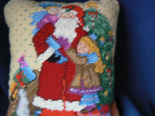 Santa Claus and Children Needlepoint Pillow