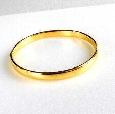 De Mujer sin Piedra 24K Baádo en Oro Amarillo Clásico Brazalete Abierto 60cm 6mm