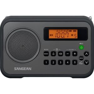 SANGEAN PR-D18BK Sangean AM/FM Digital Portable Receiver with Alarm Clock (Bl...