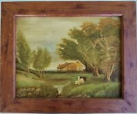 Vintage Oil Painting Pastoral Landscape Cows Primitive on Masonite