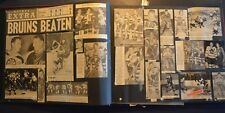 1940s 50s scrapbook clippings Hockey Bruins Red Wings Boston College Blackhawks