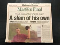 TIGER WOODS 2001 Masters Tiger Slam Newspaper Augusta Chronicle Original MINT