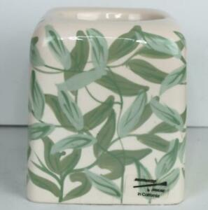 Vintage Ceramic Hand Painted Tissue Box Cover Leaves Leaf Green Plant Nature