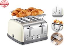 Tostadora retro bagel tostadora con 7 posiciones de sombra de pan, 4 ranuras