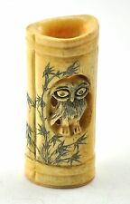 "3.5"" Vintage Chinese Bone Hand Carved Long Open Top Tall Vase Holder Cup OWL Owl"