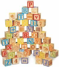 Baby Block  ABC Toy Blocks Engraved Wooden Handcrafted Alphabet Letters Building