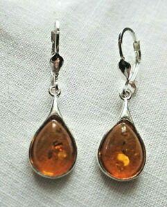 Sterling Silver and Cognac Baltic Amber Drop Earrings Taurus Birthstone