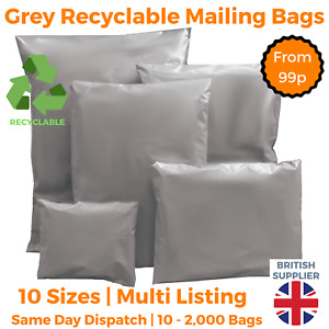 Grey Mailing Bags Strong Cheap Recyclable Post Plastic Poly Self Seal ALL SIZES