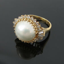 Vintage 0.75ct Diamond & Mabe Pearl 14K Yellow Gold Ring Size 7.5