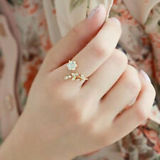 Gold Ring Wedding Jewelry Rings Fashion Women White Crystal Flower Opening