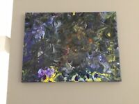 Original Abstract Acrylic Pour Painting On Canvas ( Ready To Hang ) 16x12