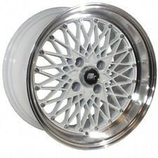 15x8 MST MT16 4x100 +20 White w/Machined Lip Wheels (Set of 4)