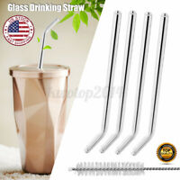 4PCS 21.5cm Glass Water Tube Smoothie Juice Drinking Straw Sucker Cleaning Tool