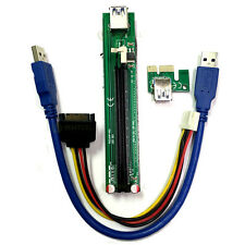 Slim PCI-E Express 1X to 16X Riser Adapter USB 50cm Cable w/ MOLEX Power Adapter