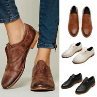 Women's Pointed Toe PU Leather Slip On Flat Casual Loafer Shoes Sneaker Shoes