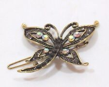 Bejeweled Dragonfly Barrette Antiqued Gold tone Gray Black Aurora Borealis Gems