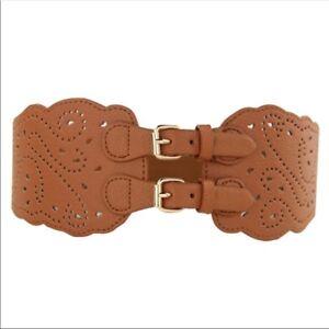 Brown Black Double Buckle Laser Cut Corset Cinch Stretch Belt OS S M L H