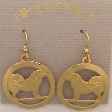 Tibetan Mastiff  Gold Dangle Earrings