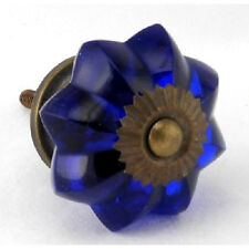 10 Cobalt Glass Cabinet Knobs Vintage Style Drawer Pull Kitchen Hardware #K64AB