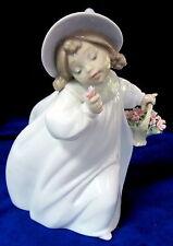 Lladro #6683 Romance Bnib Girl Holding Basket Of Flowers Retired $150 Off F/Sh