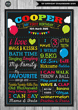 BOY 1ST FIRST BIRTHDAY CHALKBOARD SIGN BALLOONS BIRTHDAY PARTY PERSONALISED