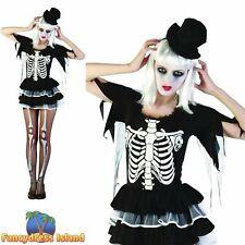 SEXY SKELETON DANCER HALLOWEEN - One Size - womens ladies fancy dress costume