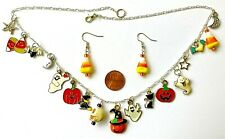"HALLOWEEN CHARM NECKLACE & EARRING -17 CHARMS-GHOST,PUMPKINS 20""-HANDCRAFTED#809"