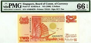 SINGAPORE $2 DOLLARS ND 1990 BOARD OF COMM OF CURRENCY PICK 27 VALUE $66