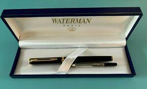 Vintage Waterman Paris - 18K Gold 750 Nib Black Fountain Pen with Case - NICE!
