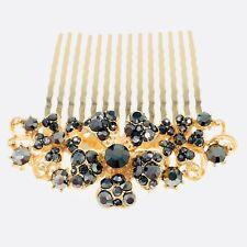Flower Hair Comb Hairpin use Swarovski Crystal Bridal Wedding Gold Black 5-14