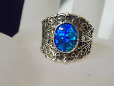 1ct blue green opal wide band antique 925 sterling silver ring size 8.5 USA