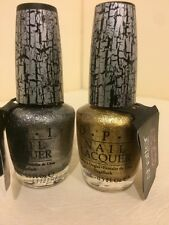 NEW OPI GOLD & SILVER SHATTER NAIL LACQUER POLISH SET FULL SIZE