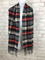 """Red Black Gray Plaid Scarf D&Y Softer Than Cashmere Super Soft Fringe 65x12"""""""