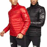 Crosshatch Mens Quilted Padded Shine Puffer Coat Jacket- Zipped Pockets- No Hood