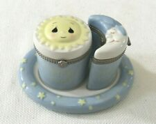 Precious Moments Baby'S First Curl & Tooth Keepsake Hinged Boxes Blue | 2007 |