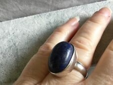 Lapis Lazuli Sterling Silver pure 925 contemporary beautiful oval Gemstone ring