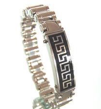 Stainless Steel Bicycle Chain 77g BRACELET Black Onyx Silver Inlay Greek Key GVC