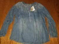 Nwt Womens Vintage America Artic Blue Wash Carmella Shirt Long Sleeve MEDIUM XL