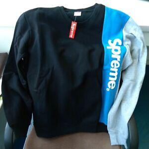 "Shoulder: 19""  L Supreme Pullover Sweater Casual Black & Blue Round Neck #6604"
