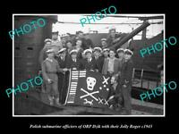 OLD POSTCARD SIZE PHOTO POLAND MILITARY POLISH SUBMARINE ORP DZIK c1943