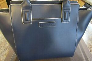 Vera Bradley Northbrook Satchel Navy Blue Faux Leather W Crossbody Strap