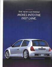 RENAULT CLIO RANGE SALES 'BROCHURE'/SHEET OCTOBER 1998 FOR 1999