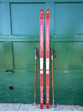 """ANTIQUE Wooden 67"""" Long HICKORY Skis + Bindings Signed CANSPORT + Bamboo Poles"""