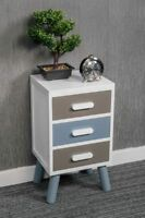 NEW 3 DRAWER WHITE BEDSIDE TABLE SCANDINAVIAN RETRO BEDROOM UNIT CABINET WOODEN
