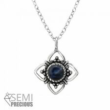 925 Sterling Silver Flower with Sodalite Gemstone Pendant Necklace
