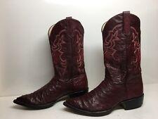 Vtg Mens Bilbo Handmade Cowboy Ostrich Skin Leather Burgundy Boot Size 8.5