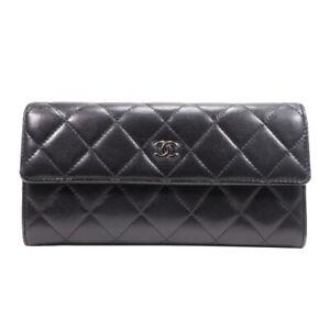 Auth CHANEL Lambskin Long Flap Bifold Wallet Black CC Mark Women